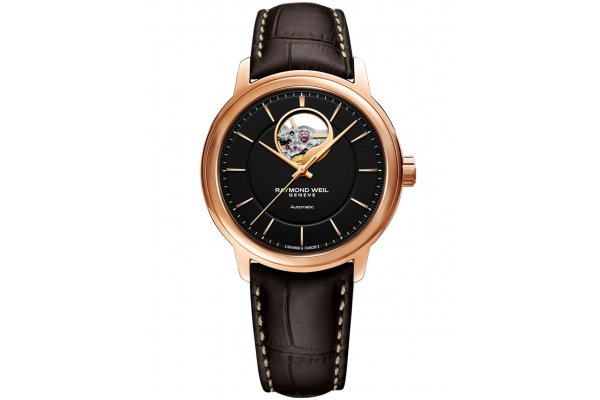 Large image of Raymond Weil Maestro Automatic Black Dial Watch, Brown Leather Strap, 40mm - 2227PC520021