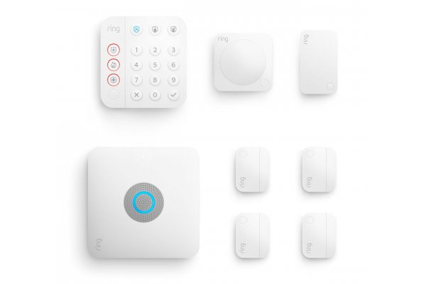 Large image of Ring 8 Piece White Alarm Pro Security Kit - B08HSTJPM5