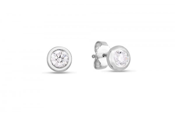 Large image of Roberto Coin 18KT White Gold Classic Diamond Stud Earrings - 000712AWERX0