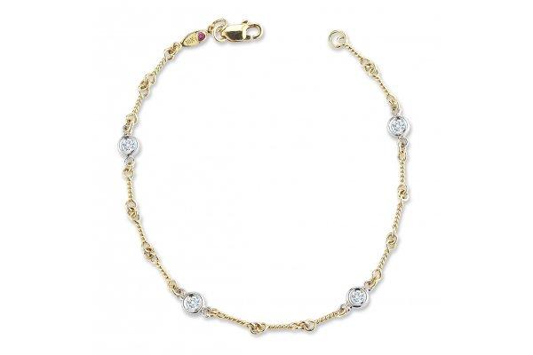 Large image of Roberto Coin 18KT Gold Dog Bone Chain Bracelet With Diamond Stations - 001824AJLBX0