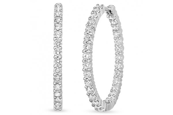 Large image of Roberto Coin 18KT White Gold Perfect Diamond Inside/Outside Hoop Earrings - 001614AWERX0