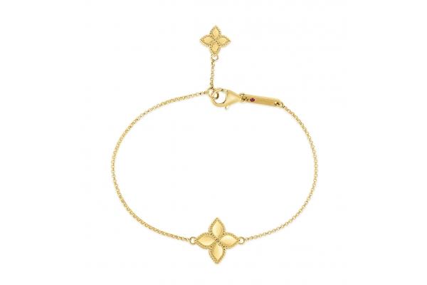 Large image of Roberto Coin 18KT Gold Princess Flower Charm Bracelet - 7771379AYLB0