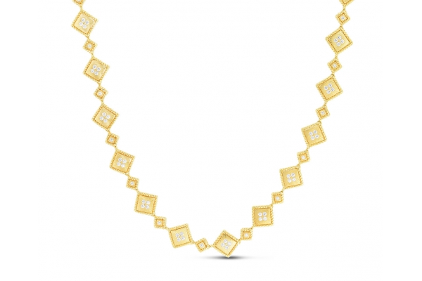 Large image of Roberto Coin 18K  Gold Palazzo Ducale Diamond Accent Satin Collar Necklace - 7772791AYCHX