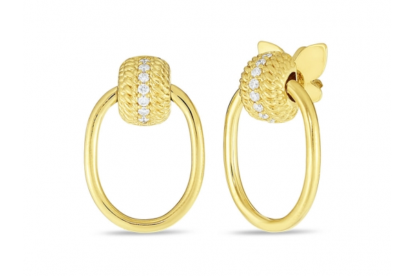 Large image of Roberto Coin 18K Yellow Gold w/ Diamonds Opera Textured Small Doorknocker Earrings - 7772806AYERX
