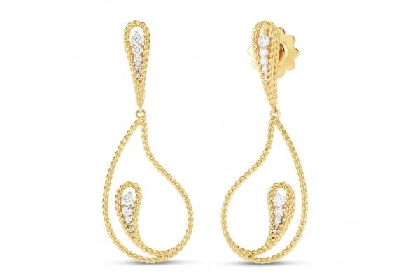 Large image of Roberto Coin 18K Gold Diamond Byzantine Barocco Paisley Drop Earrings - 7772813AJERX