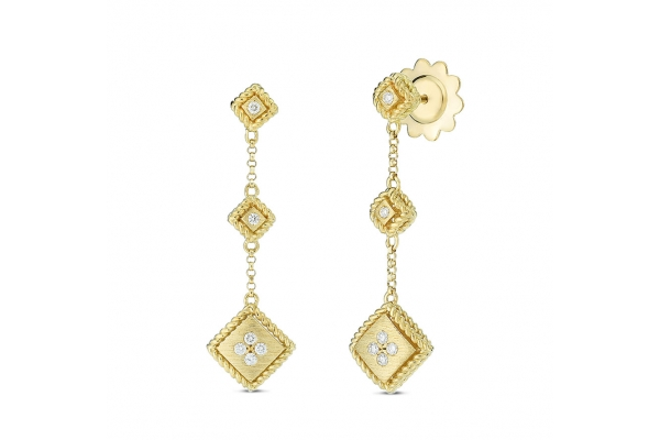 Large image of Roberto Coin 18K Gold Palazzo Ducale Satin Single Drop Earring With Diamond Accent - 7772919AYERX