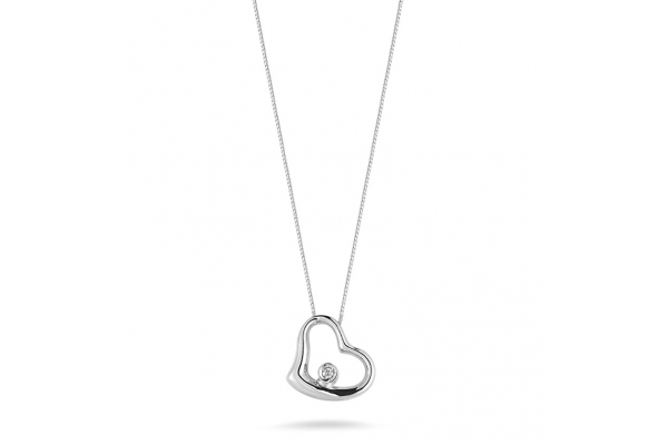 Large image of Roberto Coin 18K White Gold Small Slanted Heart Pendant With Diamond - 023267AWCHX0
