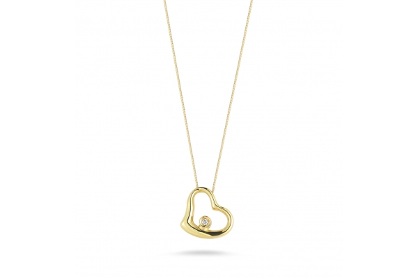 Large image of Roberto Coin 18K Yellow Gold Small Slanted Heart Pendant With Diamond - 023267AYCHX0