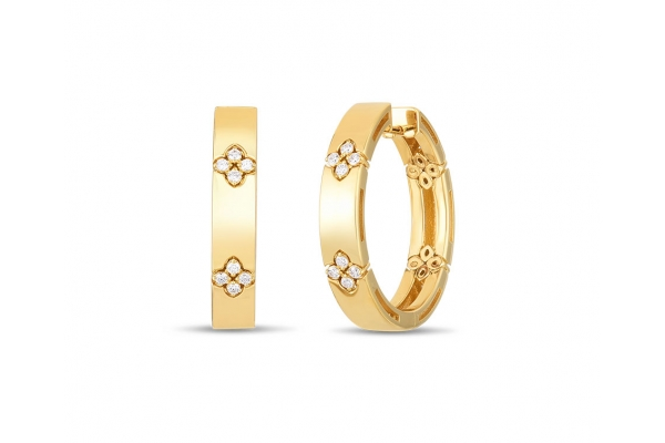 Large image of Roberto Coin 18K Yellow Gold Love In Verona Hoop Earrings With Diamond Flower - 8882991AYERX