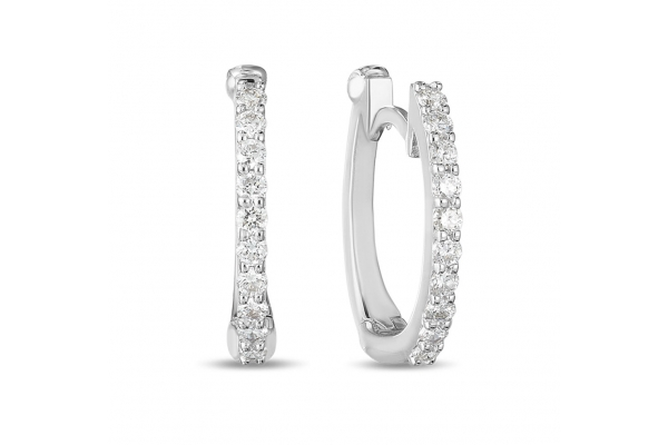 Large image of Roberto Coin 18K White Gold Huggie Earrings With Micro Pave Diamonds - 000466AWERX0