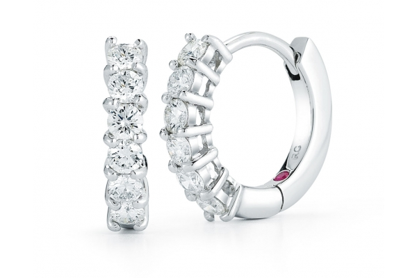 Large image of Roberto Coin 18KT White Gold Huggie Earrings With Diamonds - 001897AWERX0