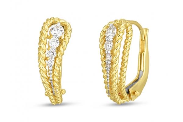 Large image of Roberto Coin 18K Gold And Diamond Byzantine Barocco Single Paisley Earrings - 7772809AJERX