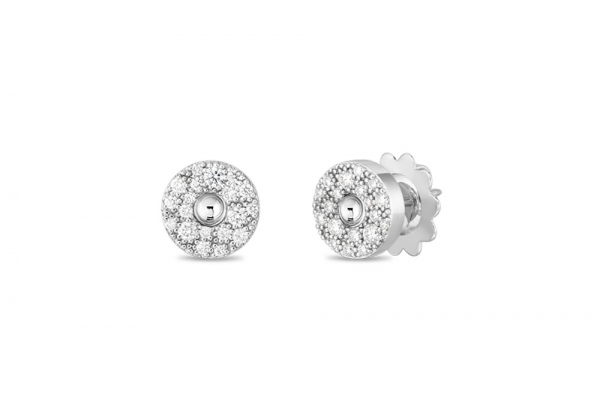 Large image of Roberto Coin 18KT White Gold And Diamond Pois Moi Luna Stud Earrings - 8882634AWERX