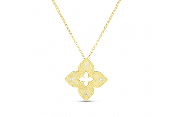 Large image of Roberto Coin 18K Gold Petite Venetian Princess Satin Flower Pendant With Diamond Accent - 7772824AYCHX