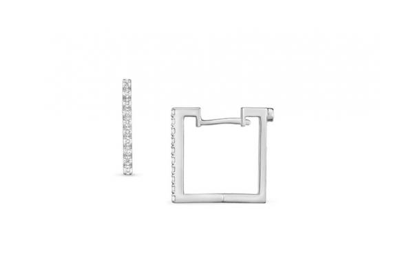 Large image of Roberto Coin 18K White Gold Diamond Square Earrings - 002061AWERX0