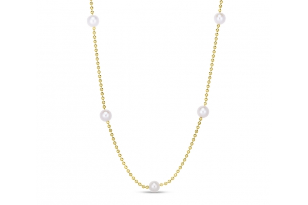 Large image of Roberto Coin 18K Yellow Gold & Pearl Bead Station Necklace On Bead Chain - 7773116AYCHOP