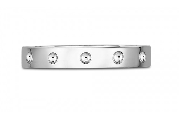 Large image of Roberto Coin 18KT White Gold Symphony Pois Moi Band Ring - 7771358AW650
