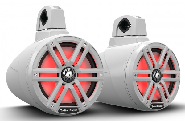 "Large image of Rockford Fosgate White M2 8"" Color Optix 2-Way Horn Wake Tower Speakers (Pair) - M2WL-8B"