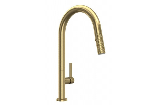 Large image of Rohl Tenerife Antique Gold C-Spout Pull-Down Faucet - TE55D1LMAG