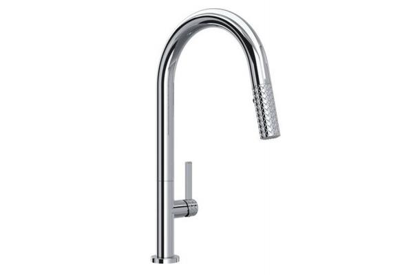 Large image of Rohl Tenerife Polished Chrome C-Spout Pull-Down Faucet - TE55D1LMAPC