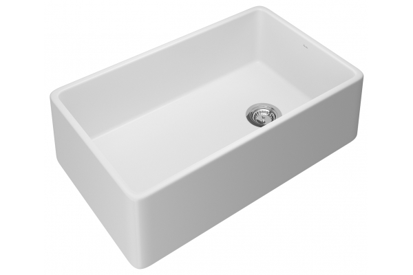 """Large image of Rohl 32"""" White Allia Fireclay Single Bowl Kitchen Sink - AL3220AF100"""