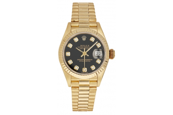 Large image of Rolex Datejust Pre-Owned Black Diamond Dial Watch, 18K Fluted Bezel - 20501