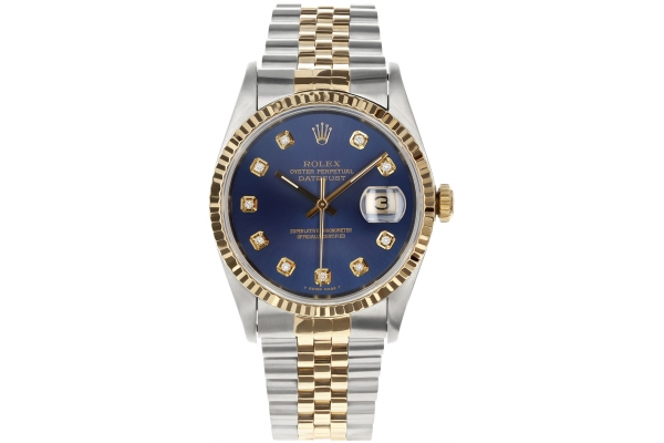 Large image of Rolex Datejust Automatic Pre-Owned Two-Tone Jubilee Watch, Blue Diamond Dial, 36mm - 10202