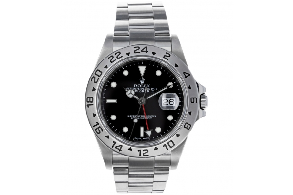 Large image of Rolex Explorer II Pre-Owned Stainless Steel Watch, Black Dial, 40mm - 10521R