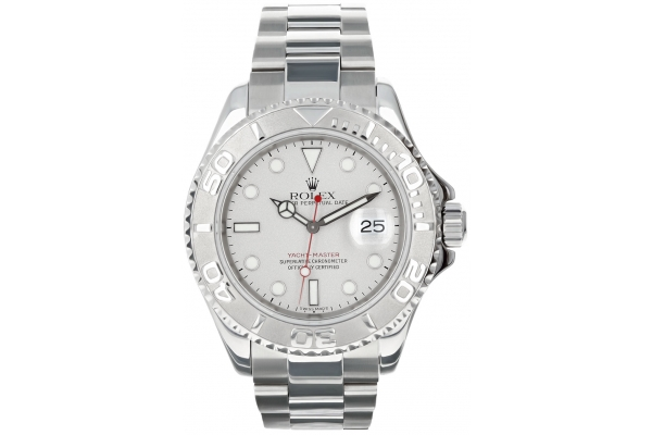 Large image of Rolex Yacht-Master Pre-Owned Stainless Steel Oyster Bracelet Watch, Silver Dial, 40mm - 10654