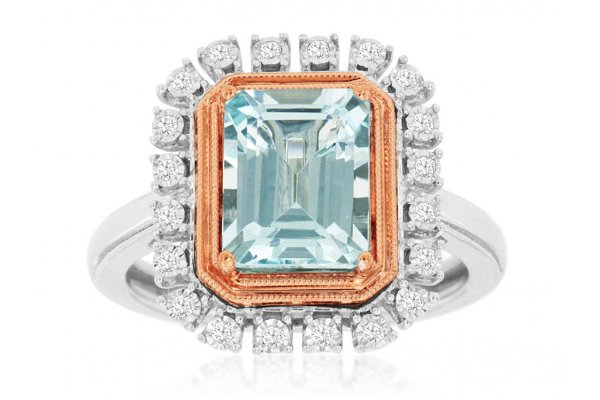 Large image of Royal Jewelry 14K White Gold Diamond & Aquamarine Ring - WC9528Q