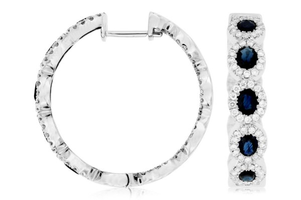 Large image of Royal Jewelry 14K White Gold Diamond & Sapphire Earrings - WC7712S