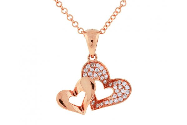 Large image of Royal Jewelry 14K Rose Gold Diamond Heart Pendant - PC5293D