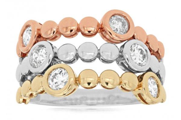 Large image of Royal Jewelry 14K Tri-Color Gold Diamond Ring - TC6618D