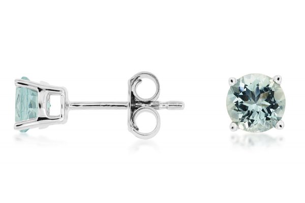 Large image of Royal Jewelry 14K White Gold Diamond & Aquamarine Earrings - WC8691Q