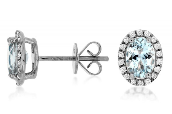 Large image of Royal Jewelry 14K White Gold Diamond & Aquamarine Earrings - WC8645Q