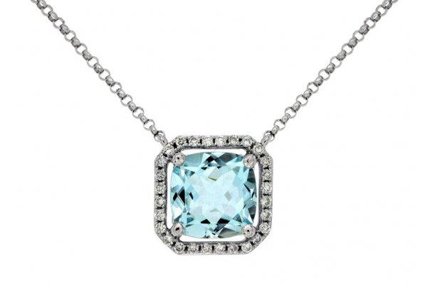 Large image of Royal Jewelry 14K White Gold Diamond & Aquamarine Necklace - WC6138Q