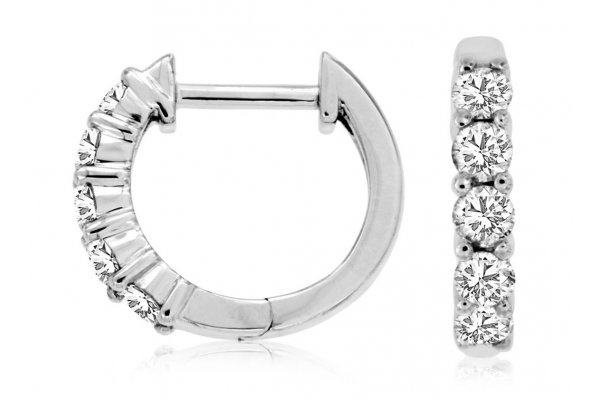 Large image of Royal Jewelry 14K White Gold Diamond Hoop Earrings - WC9030D