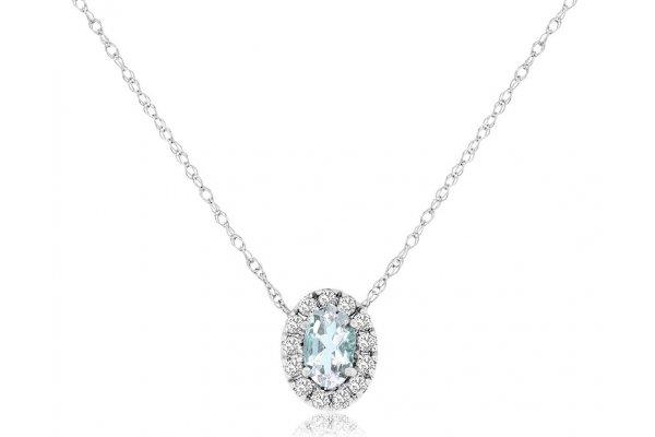 Large image of Royal Jewelry 14K White Gold Diamond & Aquamarine Oval Pendant - WC9278Q