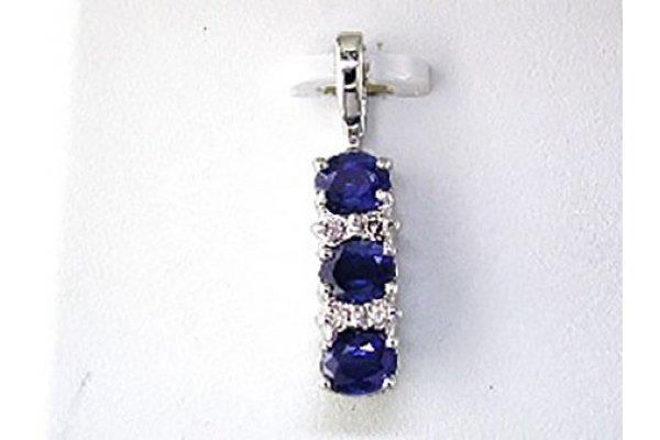 Large image of Royal Jewelry 14K White Gold Three Stone Sapphire & Diamond Pendant - WP22SP
