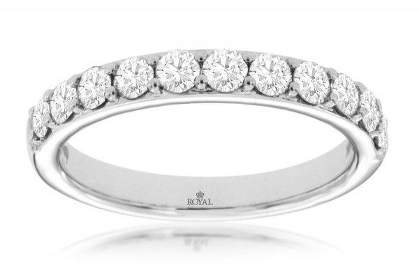 Large image of Royal Jewelry 14K White Gold Diamond Wedding Band - WH1117D