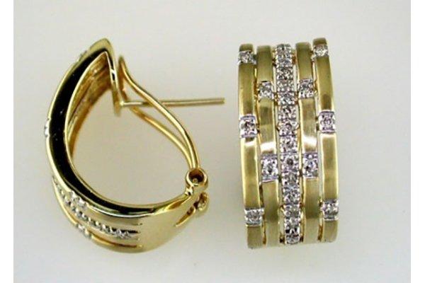 Large image of Royal Jewelry 14K Yellow Gold Diamond Earrings - C2474