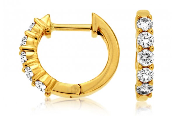 Large image of Royal Jewelry 14K Yellow Gold Diamond Hoop Earrings - C8029D