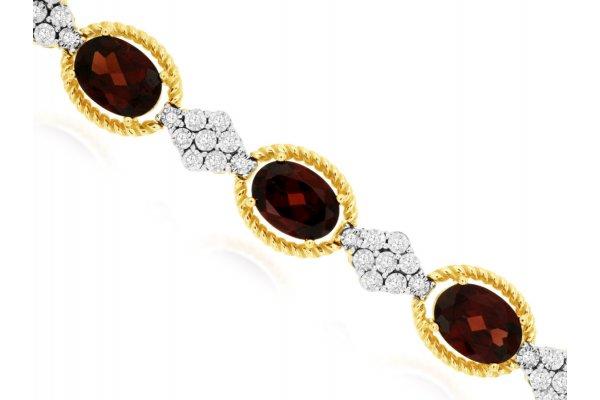 Large image of Royal Jewelry 14K Yellow Gold Diamond & Garnet Bracelet - C9360G