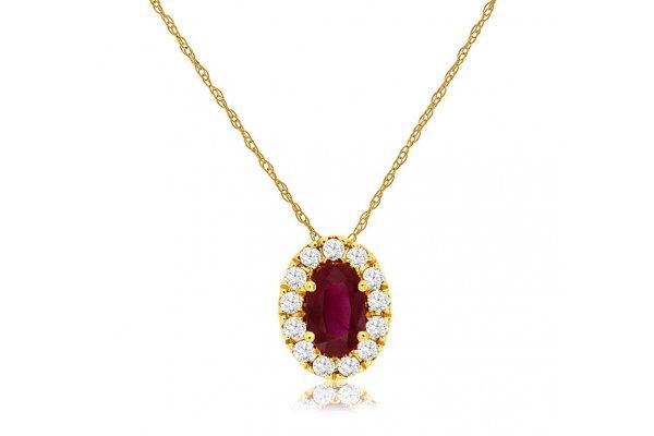 Large image of Royal Jewelry 14K Yellow Gold Diamond & Ruby Pendant - C9278RB