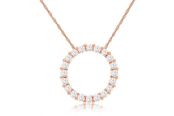 Large image of Royal Jewelry 14K Rose Gold Diamond Pendant - PC6198D