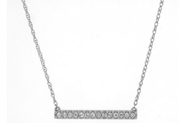 Large image of Royal Jewelry 14K White Gold Diamond Bar Necklace - WH1145D