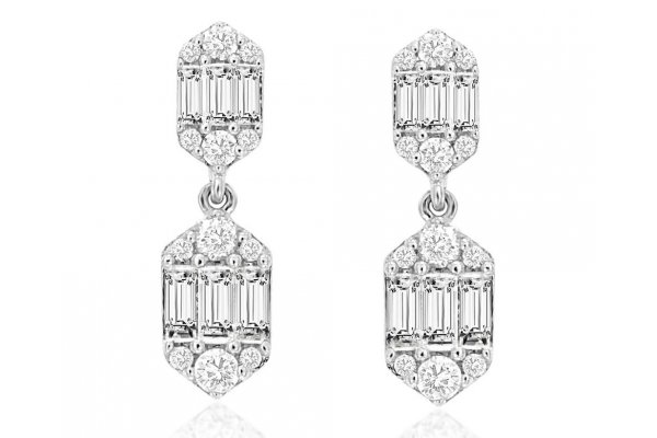 Large image of Royal Jewelry 14K White Gold Diamond Earrings - WH1008D