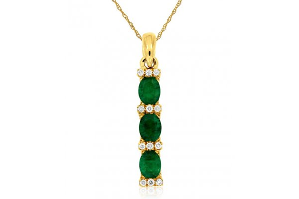 Large image of Royal Jewelry 14K Yellow Gold Diamond & Emerald Pendant - C7315E
