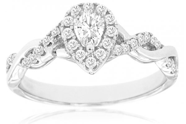 Large image of Royal Jewelry 14K White Gold, Diamond Engagement Ring - WC9082D