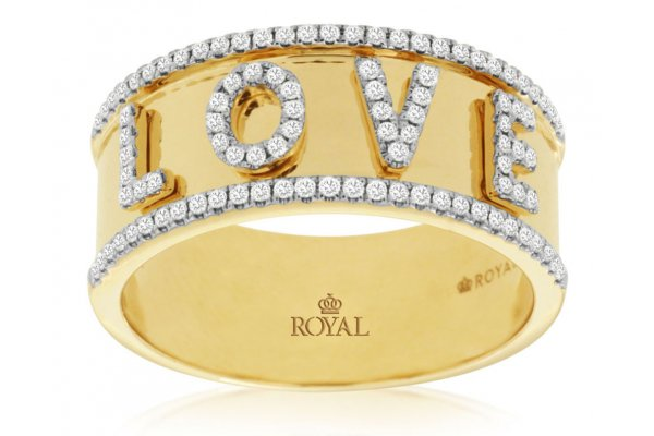 Large image of Royal Jewelry 14K Yellow Gold Ladies Diamond Ring - C9974D